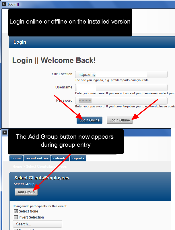 N.B. The ability to select groups during group entry is supported online, installed online and installed offline.