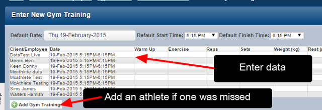 Enter in the Data for the athletes as per the normal group entry data entry process
