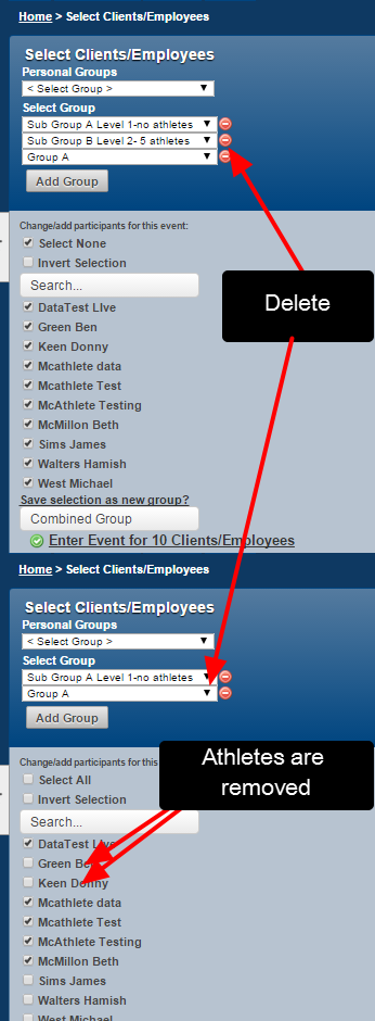 N.B. You can add in as many Groups as you require and you can easily delete a preselected group using the red delete button