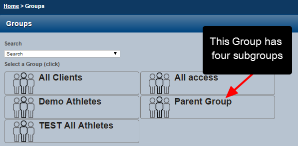 Select the Group that has groups of athletes that you want to load