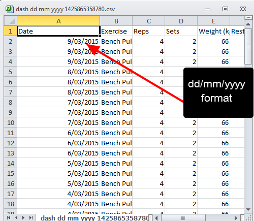 The file is exported according to the format that you select. An example of a dd-mm-yyyy format