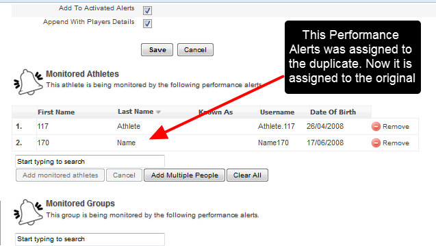 Performance Alerts are assigned to the original