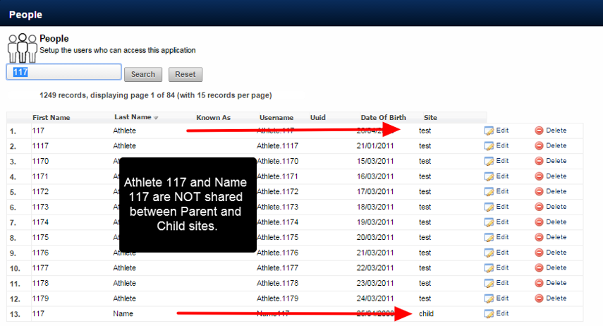 N.B. In this example we are merging a duplicate user who was set up on a child site, but is NOT linked to the parent site