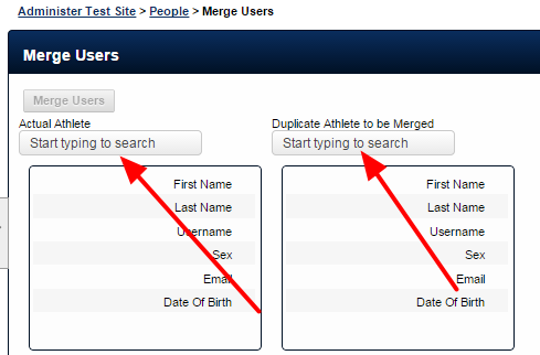 The merge functionality allows you to select the Actual Athlete (user) and the Duplicate Athlete (user) which will be Merged
