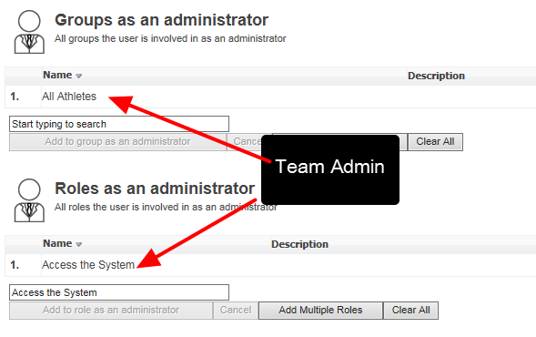 Team Administrators will have the same permission to view/search for user across sites