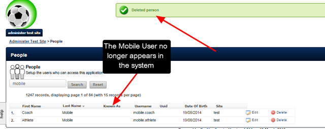 The user was deleted from the System and the data saved for them has been permanently removed.