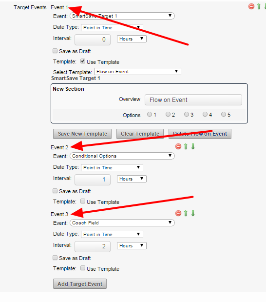 Multiple Targets Events can be set from a single Trigger Event; the example here shows 3 Target forms are being set up.