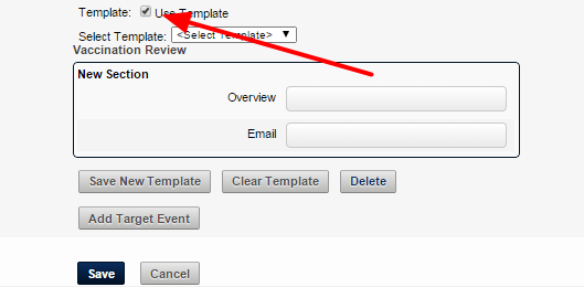 "To use a Template to auto-fill one or more fields in the form, tick ""Use Template"""