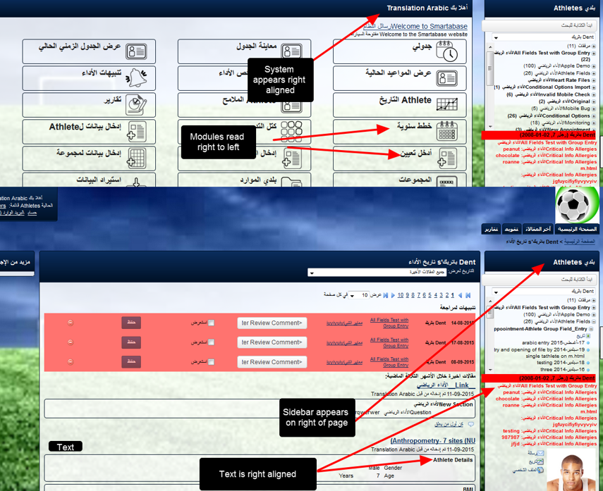 Additionally, for Arabic Translation, the position of the modules and sidebar etc changes from left-to-right to a right-to-left layout.
