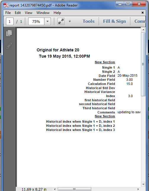 An example of the updated entry as a PDF