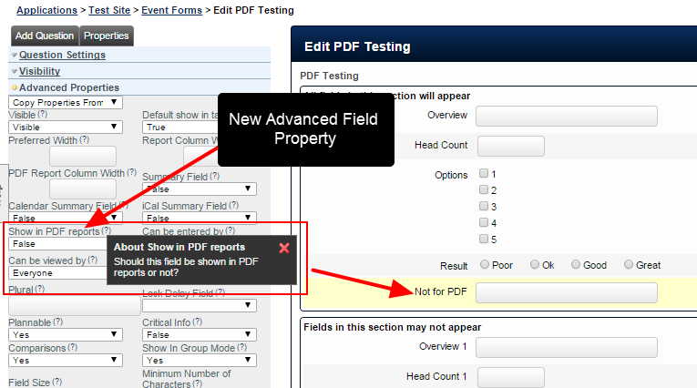 A new Advanced Field property has been added that determines whether a field is included in a PDF or not
