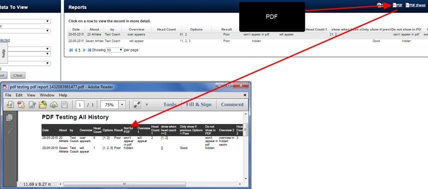 N.B. On the Reports Page, if PDF is chosen, the fields selected to appear will be based on those that appear in the Reports Table