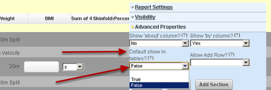 """1.b To hide the inform report so that it doesn't show in tables and athletes history, go to the Advanced Properties for the Inform Report Field on the Builder and select """"False"""" for Default show in tables"""