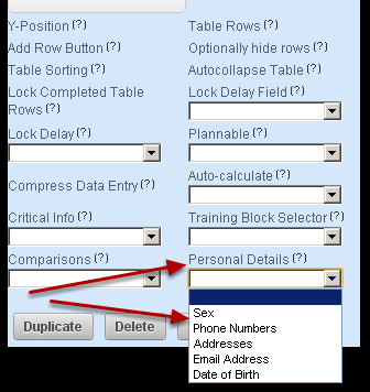 """6b. You can select to pull though Sex, Phone Number, Address, E-mail and date of birth (as shown here) from the athlete's account information that is set up on the Administration Site when you select the Personal Details field. Ensure you set up the Advanced Properties and select which  """"Personal Details"""" field to use in a form."""