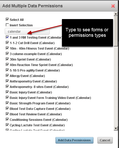8a Administration Site Search Box: There is now a search box when you add multiple permissions or athletes. You can type in the Search box to limit your search by form name or permission type, or athlete.