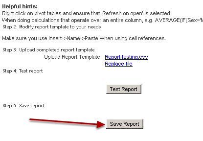 Go back to the excel reports page in the application, and upload that Excel file