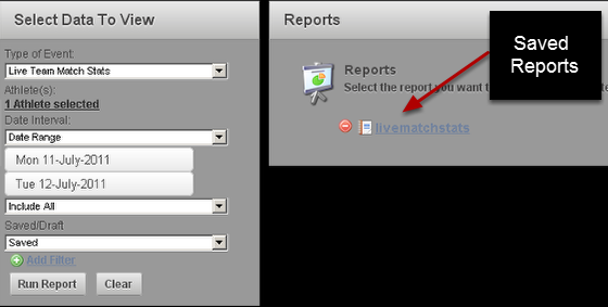 When you click on the Clear button, or when you first come back to the Reports page you will see that the report is saved