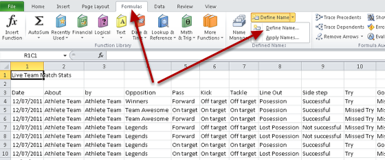Next, you need to define a name for the data. In the Formulas Tab, click on Define Name