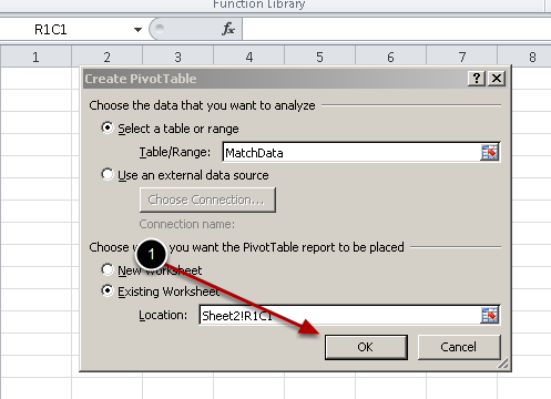 You will see that your cells are now selected as part of the pivot table, click OK