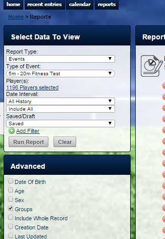 N.B. If the Groups button is ticked to be included in the live report it will not be pulled through.