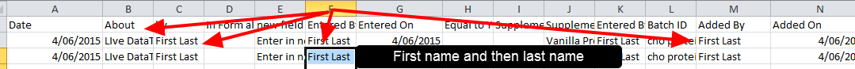 If exported, the data will also display as First and the Last name