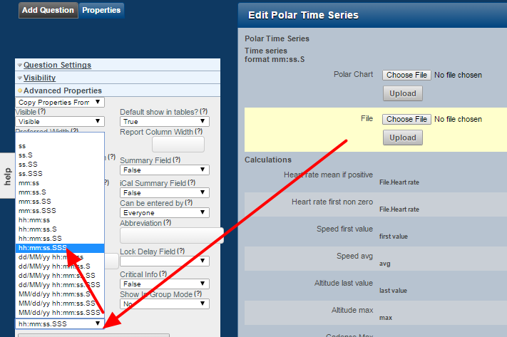 You MUST set the duration field. Ideally, set it to the same output as your hrm file, and for this example we are using hh:mm:ss.SSS