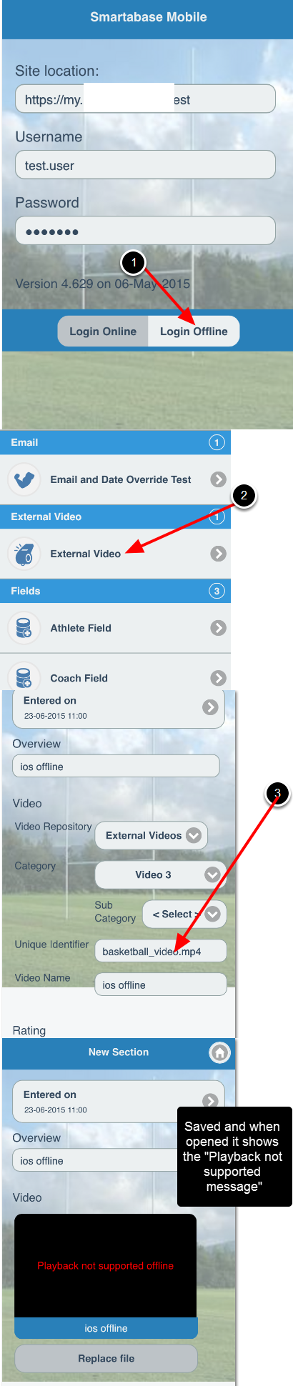 An example of the video being entered offline on iOS