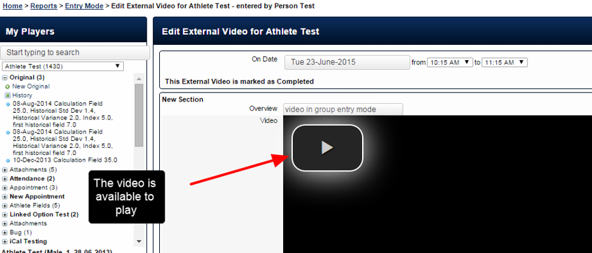 Example of opening one of the group entry records and viewing the video in single entry mode