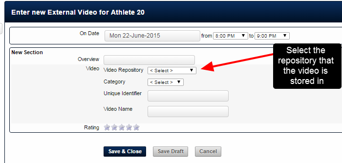 On the application, when an athlete or a coach enters in a new entry with an external video field select the correct repository that the video is stored in, and then choose a category to store it under