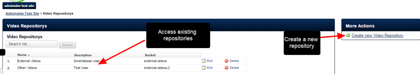 The name of each repository can be selected to appear in the External Video field. Each sport/discipline could have their own video repository, but note that this would be a separate S3 bucket for each