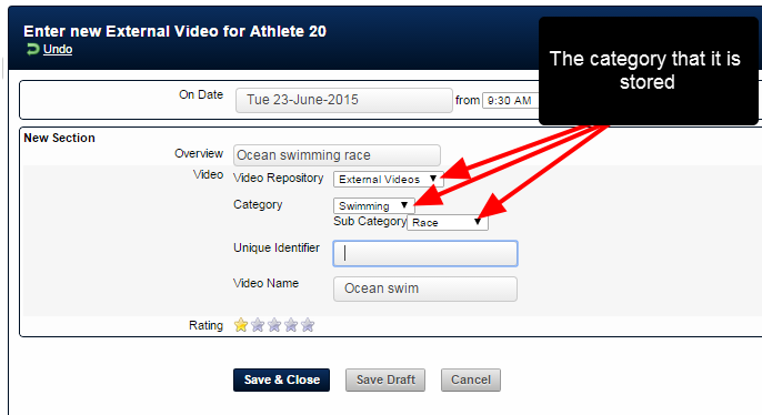 For example, the video is stored in the external videos repository, and the user is adding the link to the video in the Swimming Category