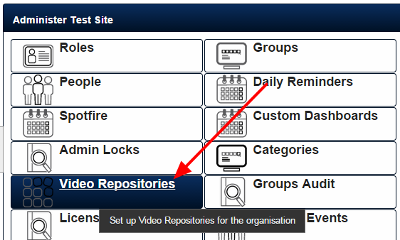 The Video Repository Folder on the Admin Tool is where you link to an S3 repository. Each repository links to a separate S3 bucket