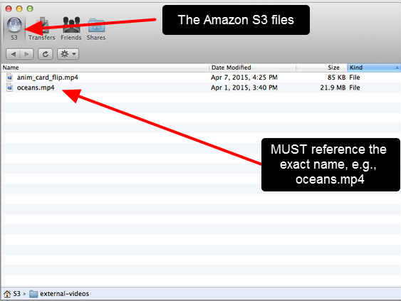 The image here shows the S3 external repository and you can see the name of the video as it is exists in the S3 Amazon bucket