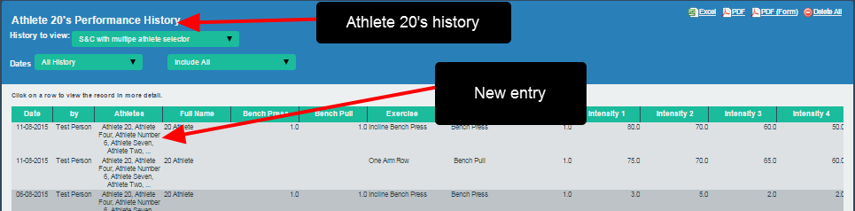 Once saved, the record will appear in the Athlete History for the athlete you selected to enter the data for.