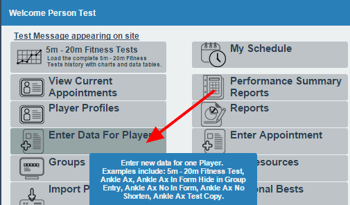 To enter in data and apply it to multiple athletes, click on Enter Data for Athlete (DO NOT USE GROUP ENTRY MODE)