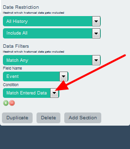 """Then select """"Match Entered Data"""". This means the historical calculation will find the minimum for all entries on the system that match """"Event"""""""