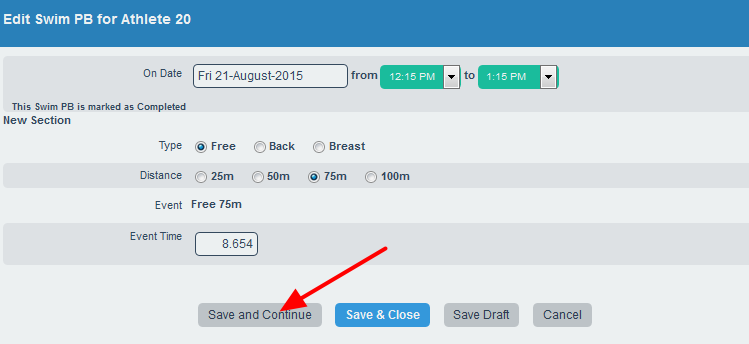 When new data is entered, note that because the calculations are using historical calculations, click save and continue to see the calculations in the form. Note that they will still run when saved and appear in the athlete history