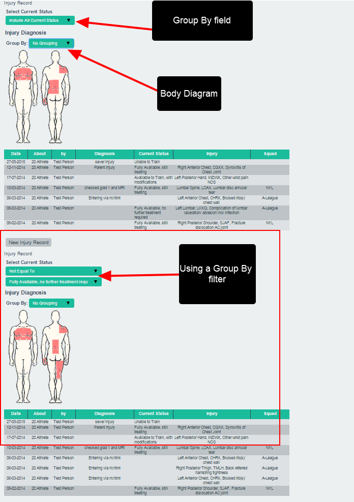 Injury Diagrams will appear as per normal. Any Group By fields will also be available for grouping (e.g. Current Status).