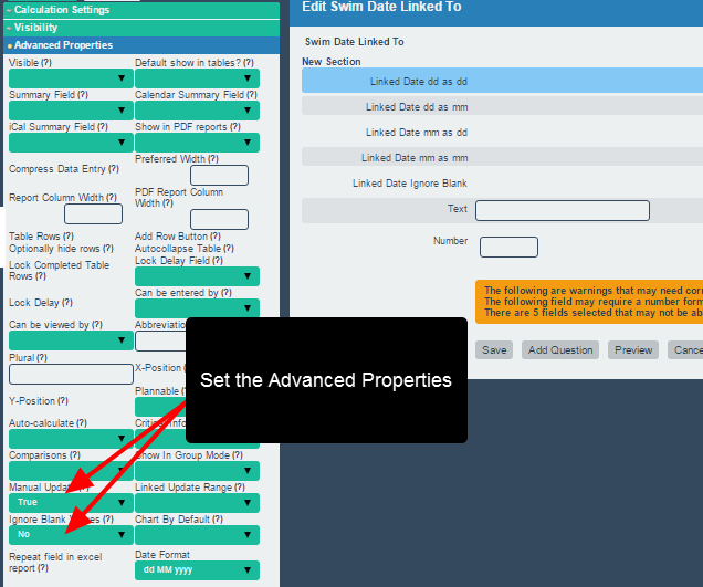 Add in the specific Advanced Properties for the Linked field that you need (e.g. manual update, ignore blank etc.)