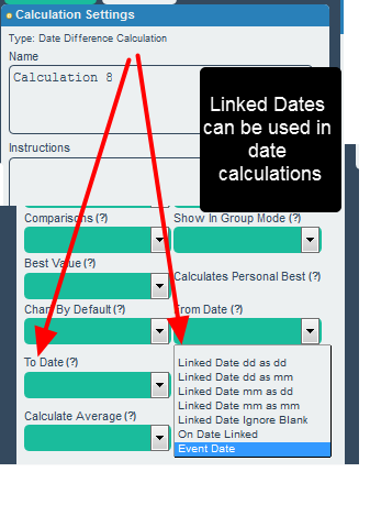 N.B. Once these linked dates are pulled into the form, they can also be used in date calculations and calculations in the linked form