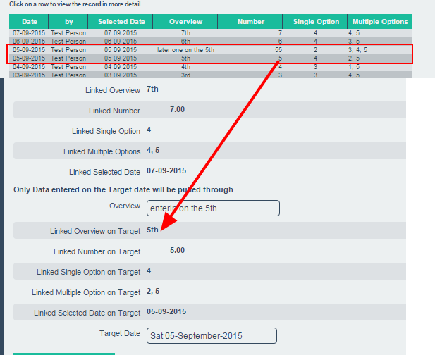 Please note that the functionality works on the assumption that you only have one event form for the Target Date to pull data from. If you have two for more source forms entered on the target date it will select only one of them to display.