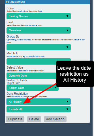 """For the Date setting, do NOT select """"All History and Future"""" or it will break. Please leave the setting on All History and Include All"""
