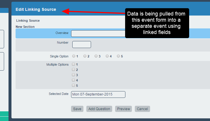 Date can be tracked in one form and linked in to a separate form, but only data entered on a specific date in the source form will pull through