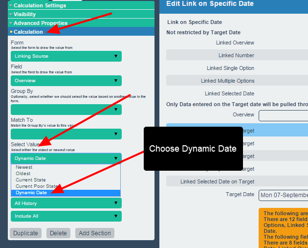 """To set up a link this way it MUST set to have a special """"Dynamic Date"""" for the Select Value setting in the Calculation Properties"""