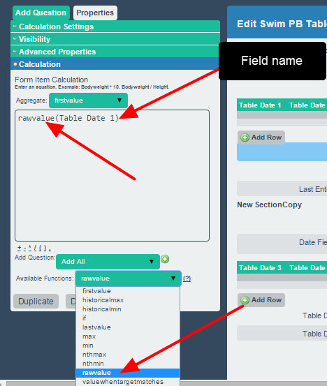 """Write in """"raw value"""" before the name of the date field to return the date for the specified table column"""