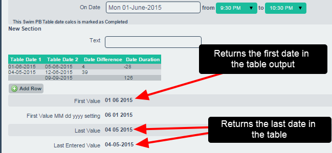On the system, the output of the table calculations is a date field.
