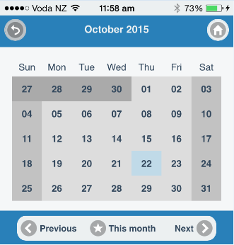 Calendar on an iPhone