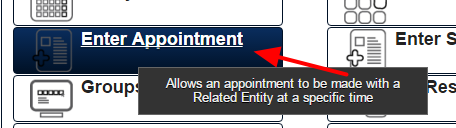 Example of entering in an Appointment Form that is set as hidden for the My Schedule and Calendar