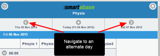 By default today's date appears, but use the back and forth buttons to navigate to an alternate day to schedule events for.