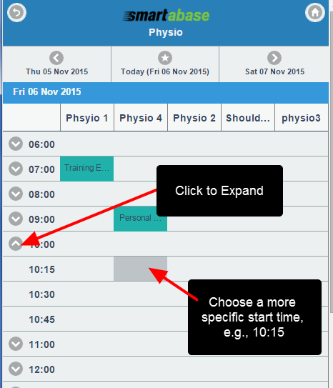 The Booking Calendar appears in 1 hour slots. Click on the hour <strong>drop down</strong> arrow to be able to select 15 minute start time intervals